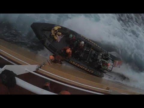 شاهد: ناشطون يقفزون على سفينة تنقل زيت النخيل احتجاجا على تدمير الغابات…  - 07:53-2018 / 11 / 19