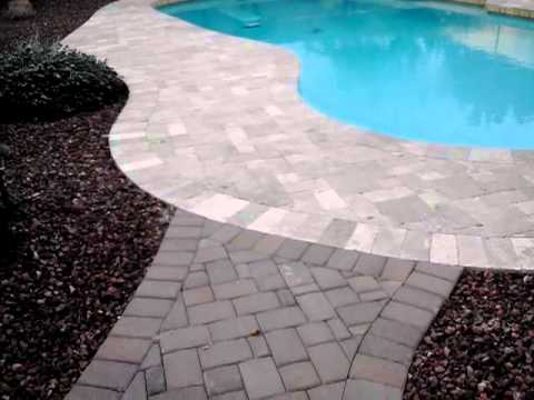 Before Cleaning This Pool Deck Travertine Pavers