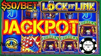 🔒HIGH LIMIT Lock It Link Eureka Reel Blast JACKPOT HANDPAY 🔒$50 BONUS ROUND Slot Machine HARD ROCK