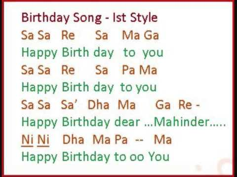 Happy Birthday To You Notations Style I