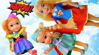 Elsa and Anna Toddlers are Superheroes! Meet DC Superhero Girls Fly Super-girl Toys In Action Doll