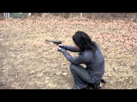 Visitor from Japan, first time shooting pistol, priceless reaction