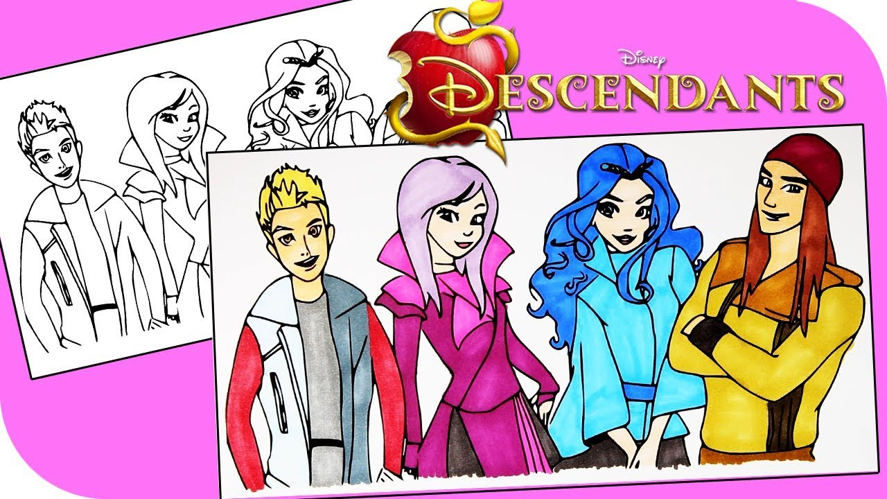 disney descendants coloring book pages coloring jay mal evie and