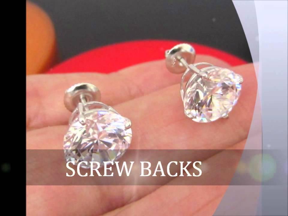 Huge 8 Carats UniSex man made Diamond Stud Earrings 14K ...