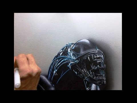 dessin time lapse – hyperrealistic art : how to draw aliens