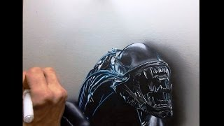 dessin time lapse - hyperrealistic art : how to draw aliens
