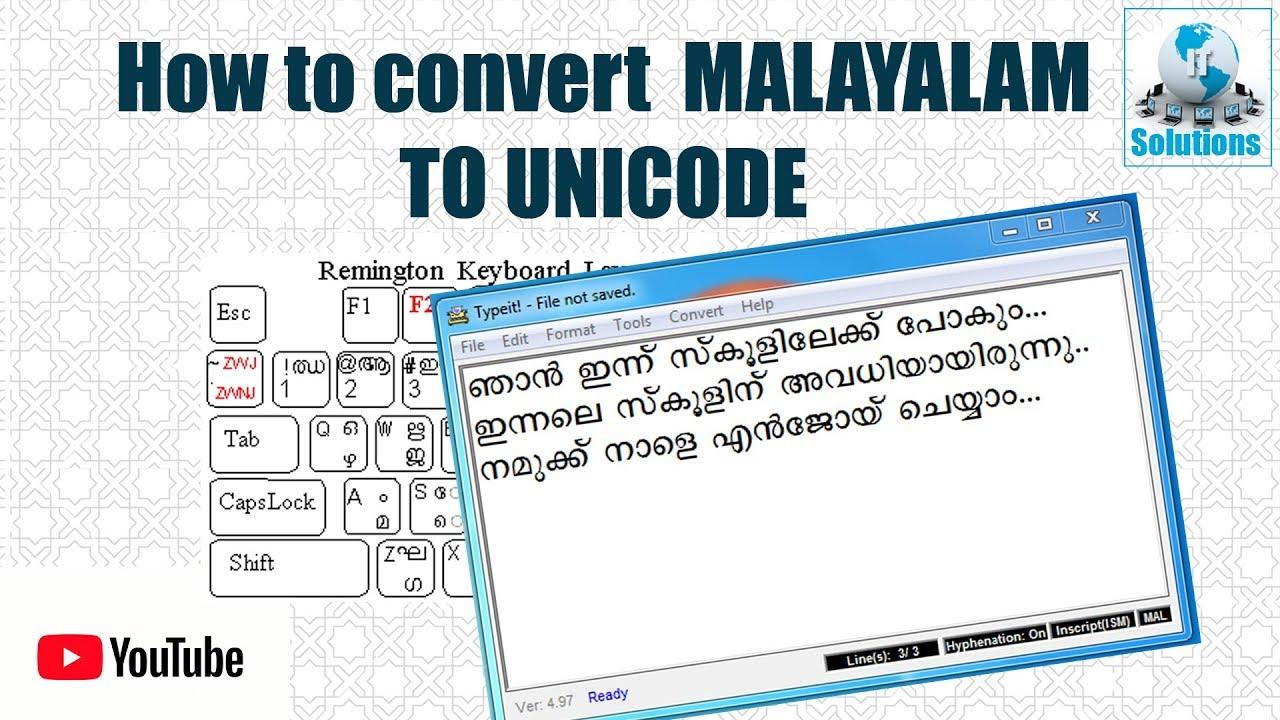 How to convert Malayalam to unicode