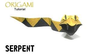 Origami Serpent tutorial (Christophe Boudias) snake 折り紙  ヘビ   оригами учебник змея