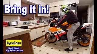 Bring Motorcycle in The HOUSE or Apartment!