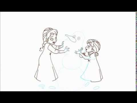 how to draw little elsa and anna as kids building a snowman from frozen youtube