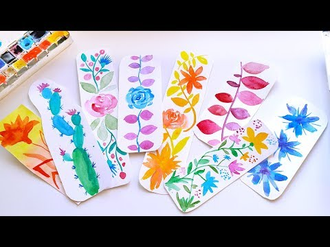 DIY Watercolor Bookmarks Ideas with Flowers – Easy Painting Tutorial (part 2)