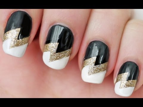 Lightning Bolt Nails Using Scotch Tape