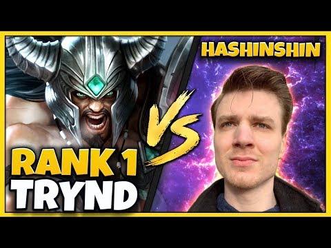 #1 TRYNDAMERE WORLD VS. HASHINSHIN REMATCH! INSANE GAME! - League of Legends
