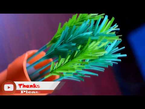 How To Make Easy & Simple Paper Grass 🏝 DIY Home Decoration Craft 🏝 DIY Potted Paper Grass