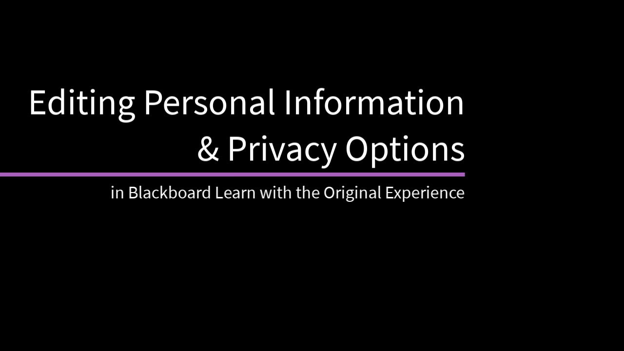 Personal Settings | Blackboard Help