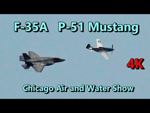 U.S. Air Force F-35A P-51 Mustang Heritage Flight ✈️ Chicago Air & Water Show Saturday Aug 18 2018