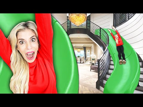 rebecca-turned-her-stairs-into-a-giant-slide-for-24-hours!-($10,000-challenge-to-win-tiny-house)
