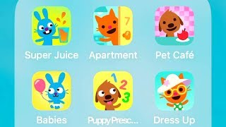 Sago Mini Super Juice,Apartment,Pet Cafe,Babies,Puppy Preschool,Babies Dress Up