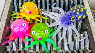 Octopus Family Shredded! Sharks and Squishy Things Destroyed! What's Inside Slime Animals!