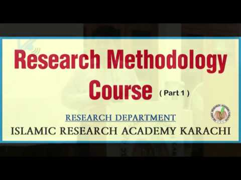 Research Methodology Course Part 1
