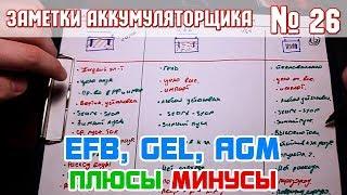 ЗА № 26: EFB, GEL, AGM плюсы и минусы автомобильных аккумуляторов!