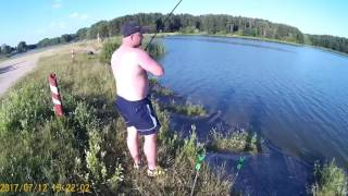 Рыбалка. д.Верейки. Ловля карася и сомика на фидер 2017.07.12