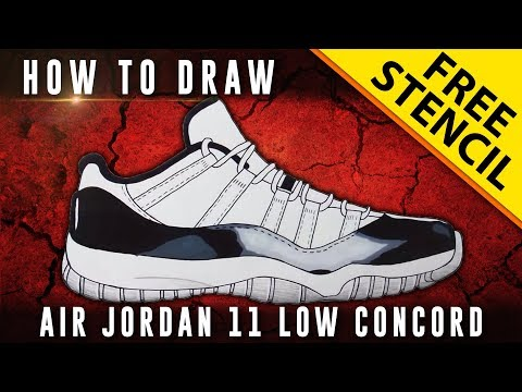 timeless design 29470 4a996 How To Draw  Air Jordan 11 Low Concord w  Downloadable Stencil - YouTube
