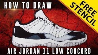 How To Draw: Air Jordan 11 Low Concord w/ Downloadable Stencil