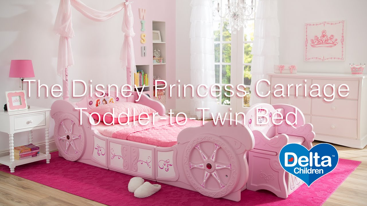 Toddler beds for girls princesses - Disney Princess Carriage Toddler To Twin Bed Youtube