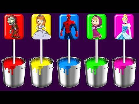 Thumbnail: Zombie Sofia Spiderman Masha Cinderella Lollipops Painting Colors Learn Finger Family