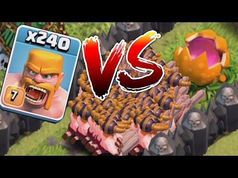Clash Of Clans - SCARY PUMPKIN Vs. 240 BARBS!! (TROLL DEFENSE!!)