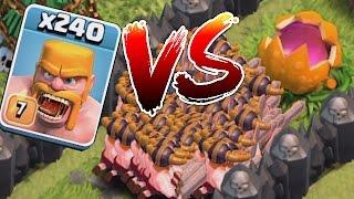 Clash Of Clans - SCARY PUMPKIN Vs. 240 BARBS!! (TROLL DEFENSE!!)