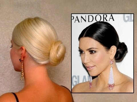 Kim Kardashian Bun Hair Tutorail Prom Wedding Updo Hairstyle For
