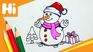 How to draw a snowman for kids