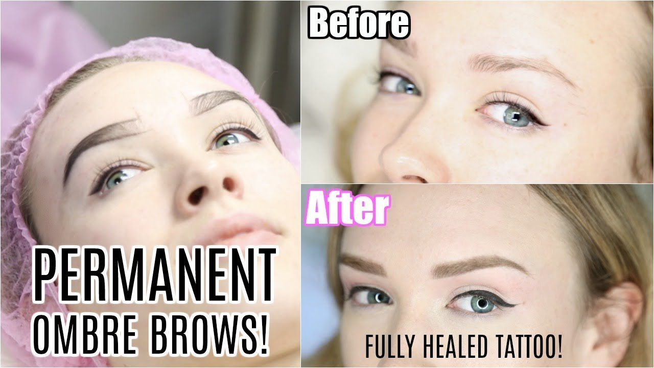 PERMANENT EYEBROWS! | Ombre Brow Tattoo Makeup Healed Results! - YouTube