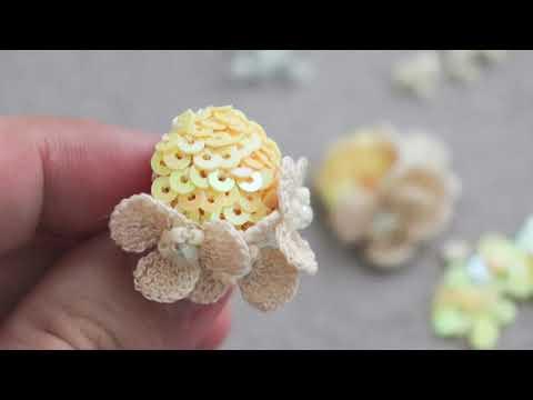 Crochet sequin earrings - miniature crochet flower earrings