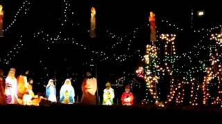 Nativity Scene with Walking Camels in Christmas Display West of Carlinville, IL