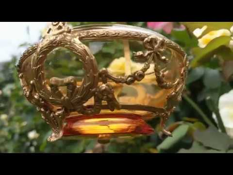 Antique Cambridge Glass Company Depression Glass French Empire Style Amber Glass and Bronze Basket 💞