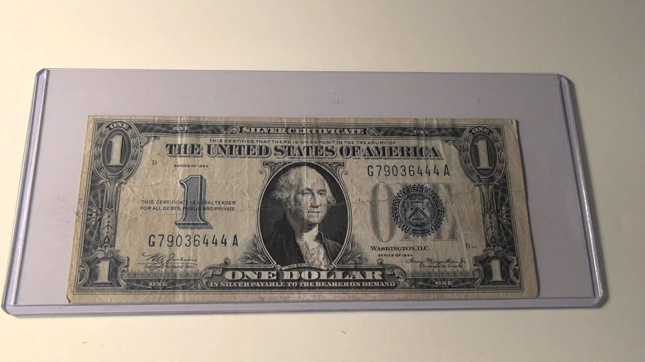 1934 1 Silver Certificate Note Youtube