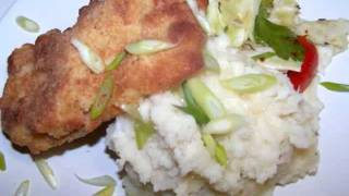 Oven Fried Chicken & Garlic Mashed Potatoes And Cauliflower