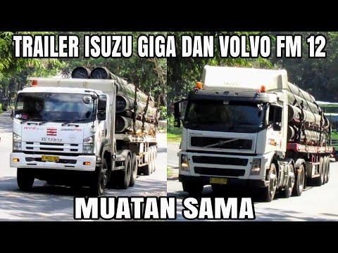 truk-trailer-isuzu-giga-gvz-285-dan-volvo-fm12-muatan-pipa-besi-ditanjakan