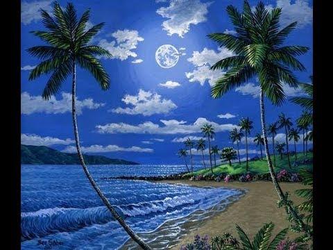 kaedah lukisan pantai pada waktu malam dan bulan akrilik