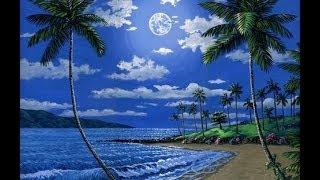 kaedah lukisan, pantai pada waktu malam dan bulan, akrilik cat pada kanvas