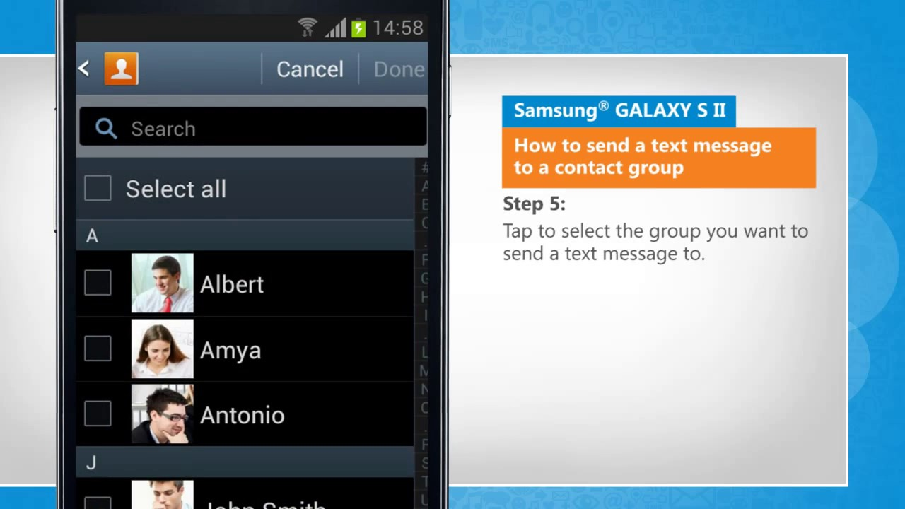 how to send a text message to a contact group on samsung