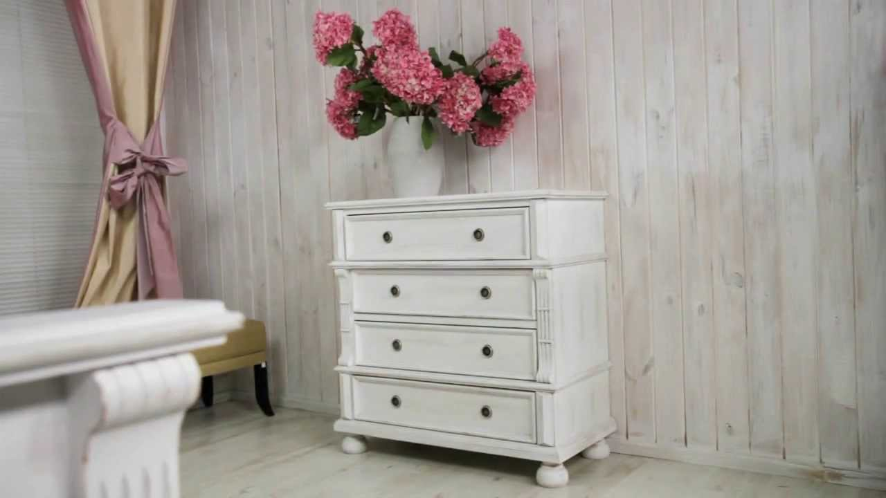 massivholz kommode im landhausstil shabby chic wei youtube. Black Bedroom Furniture Sets. Home Design Ideas