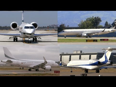 HD Foreign Private Jet Takeoff Compilation at San Jose International Airport