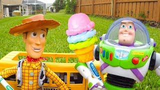 Disney Ice Cream Truck Toy at Swimming Pool with Woody and Buzz