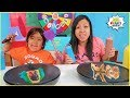 PANCAKE ART CHALLENGE Mystery Wheel!! Learn how to make Pancake Art with Ryan!!!