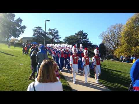 KU Band marching down the hill