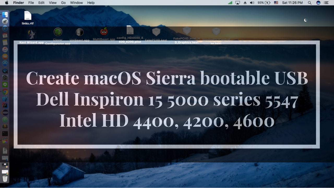 How to create macOS Sierra bootable USB for Dell Inspiron 15 5000 series  5547 Intel HD 4400